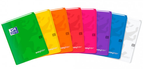 OXFORD easyBook®  NOTEBOOK - 17x22cm - Polypro cover with pockets - Stapled - Seyès Squares - 96 pages - Assorted colours - 400111482_1200_1583183512