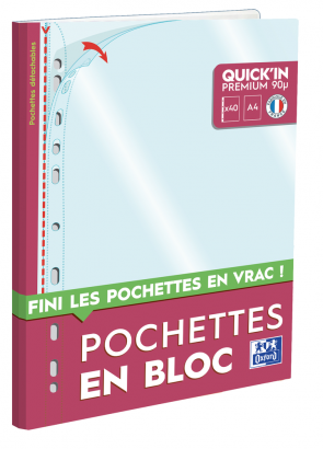 POCHETTES PERFOREES OXFORD QUICK'IN - Bloc de 40 - A4 - Polypropylène - 90µ - Lisse - Incolore - 400124779_8000_1562044853