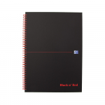 OXFORD Black n' Red Notebook - A4 - Hardback Cover - Twin-wire - Ruled - 140 Pages - SCRIBZEE® Compatible - Black - 400047608_1100_1559675842