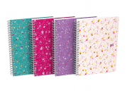 OXFORD Floral Notebook - A5 - Soft Card Cover - Twin-wire - 5mm Squares - 120 Pages - SCRIBZEE® Compatible - Assorted Colours - 400094951_1400_1594063710
