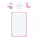 OXFORD REVISION 2.0 cards - squared with fuchsia frame, 12,5 x 20 cm, pack of 50 - 400133985_2300_1573152610