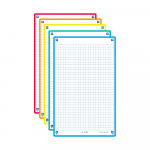 OXFORD REVISION 2.0 cards - squared with 5 assorted colour frames (yellow, red, turquoise, mint, orange), 12,5 x 20 cm, pack of 50 - 400137402_1100_1575014869