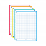 OXFORD REVISION 2.0 cards - squared with 5 assorted colour frames (yellow, red, turquoise, mint, orange), 14,8 x 21 cm, pack of 50 - 400137404_1100_1575014890